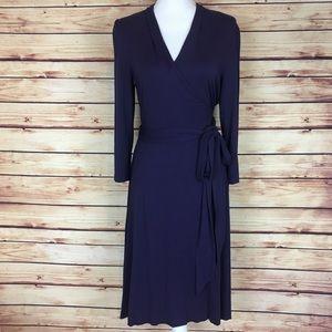 Banana Republic Wrap Dress Purple Long Sleeve L